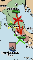A green support-hold from the fleet in Tyrrhenian Sea lets Rome hold against an attack from Venice, supported by Tuscany