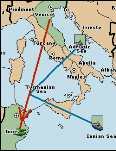 An army in Venice moves to Tunis, convoyed by the fleets in Adriatic Sea and Ionian Sea