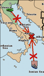 The fleet and army are both equally matched in their attempt to move into Apulia, so neither succeeds