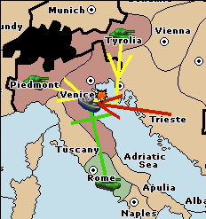 The fleet moving from Trieste to Venice has two support-moves, and the fleet in Venice has only one support-hold, so Trieste succeeds