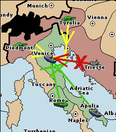 A green support-hold from the fleet in Tyrrhenian Sea lets Rome hold against an equally well-supported Venice