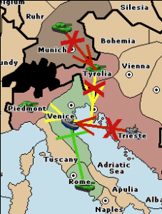 An army from Munich attacks Tyrolia, preventing it from supporting Trieste: Trieste 1 - Venice 1; Trieste stays