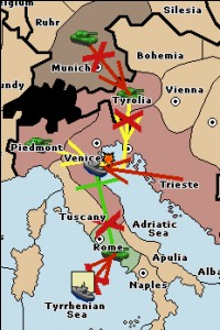 A fleet in the Tyrrhenian Sea attacks Rome, preventing it from supporting Venice: Trieste 1 - Venice 0; Trieste moves in