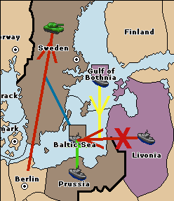 Because Prussia is support-holding the fleet in the Baltic Sea the equally supported move to the Baltic Sea from Livonia fails: 